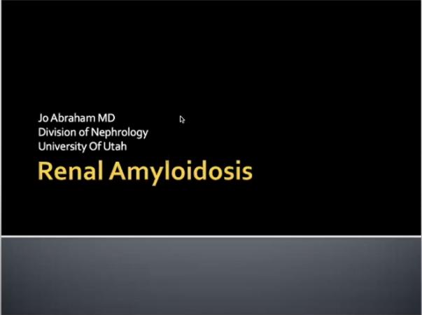 Webinar Presentation By Jo Abraham On Renal Amyloidosis